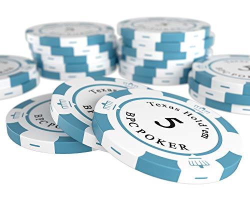 Bullets Playing Cards - 20 Clay Pokerchips Carmela für Pokerset - Wert 5 - 14g - 4cm Durchmesser - Farbe Weiß-Grau