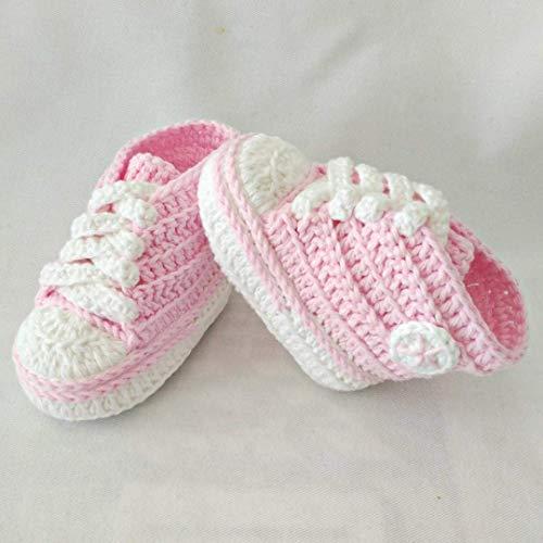 Patucos para Bebé Recién Nacido tipo Converse, 0-3 meses Rosa Claro. Handmade. Crochet. España