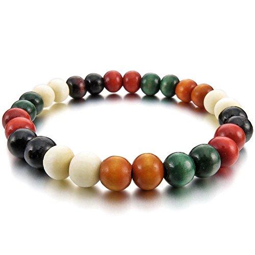 Cameleon-Shop - Bracelet Tibétain Extensible Perles - Bois - 17 cm - Blanc, Marron , Rouge et Vert