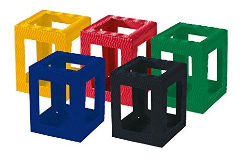 folia 9709/5 - Laternen Rohlinge, Laternenzuschnitte Mini aus Wellpappe, 5 Stück sortiert in 5 Farben, zum Zusammenstecken ohne Kleber, ideal zum Gestalten individueller Laternen oder Tischlichter