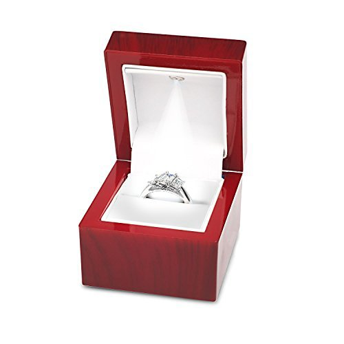 Noble Cherry Light LED Single Ring Jewelry Box Deluxe for Engagement, Proposal or Special Occasions with White Insert,