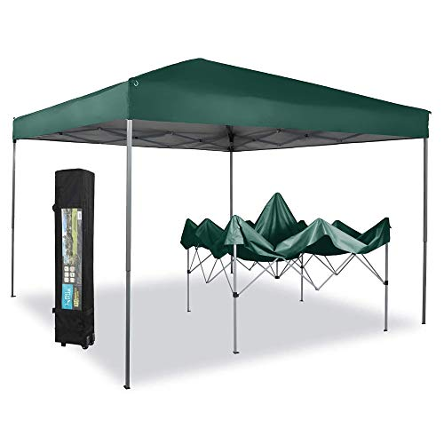 PHI VILLA 10 x 10ft Portable Pop Up Canopy Event Tent Party Tent, 100 Sq. Ft of Shade (Green)