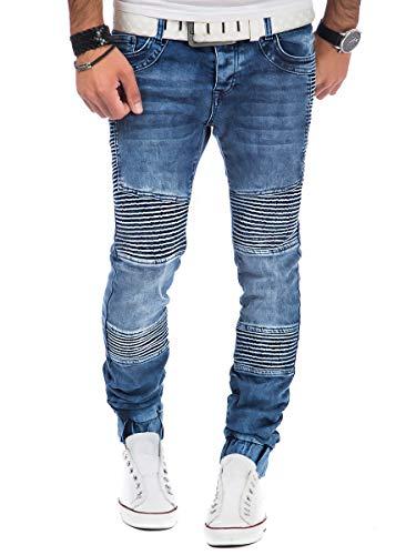 Tazzio Sweat Jeans Herren Jogger Jeanshose Stretch Designer Hose Denim (Blau, 34W / 32L)
