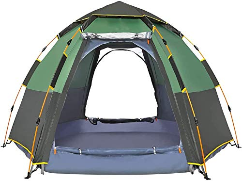 Mzq-yj Pop Up Tent for 3 To 4 Person Automatic Opening Hexangular Hydraulic Double Layer Tent - Ultra Large Waterproof Dome Tent with Porch,B