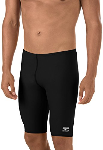 Speedo Men's Swimsuit Solid Jammer Endurance + USA Adult, Black, 34 Inch