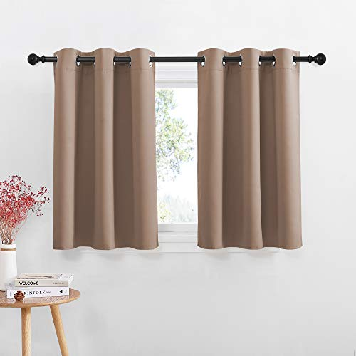 NICETOWN Short Curtains Blackout Curtains - Thermal Insulated Kitchen Light Reducing Drapes for Half / Nursery Window (1 Pair, 42W by 36L + 1.2 inches Header, Cappuccino)