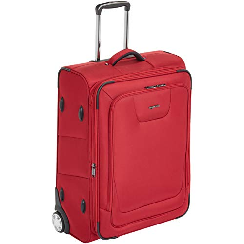 Amazon Basics – Maleta blanda expansible con candado TSA y ruedas, 66 cm, rojo