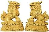 zvcv Tallado A Mano Coleccionable Un Par De Adornos Chinos Chinos Boj Qilin/Kylin Estatua Escultura Decoración, Compatible con El Hogar