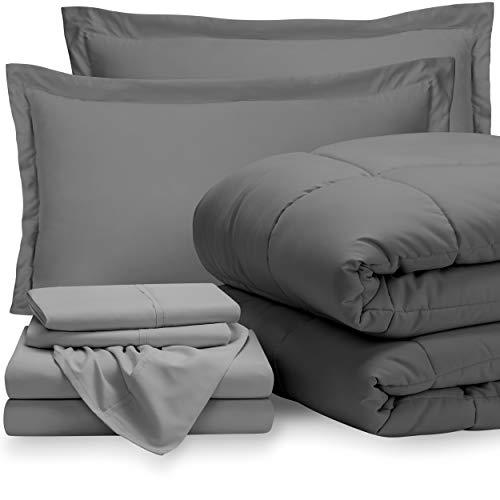Bare Home Bedding Set 7 Piece Comforter & Sheet Set - Queen - Goose Down Alternative - Ultra-Soft 1800 Premium - Hypoallergenic - Breathable Bed Set (Queen, Grey/Light Grey)
