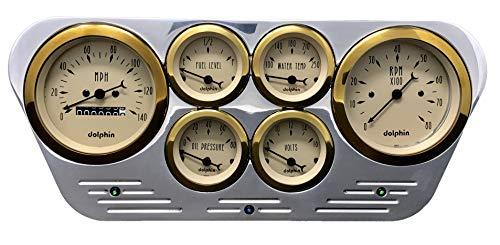 Dolphin Gauges Compatible with 1953 1954 1955 Ford Truck 6 Gauge Dash Cluster Panel Set Mechanical Gold Bezel