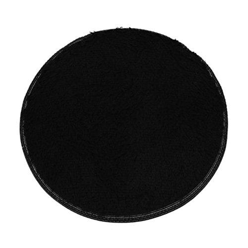 Xshuai Neuer Entwurf 60cm Durchmesser haltbar weiches Bad Schlafzimmer Fußboden Dusche runder weicher Matte Teppich rutschfest (grün/schwarz/Balu/Rosenrot/Lila/Rot) (Schwarz)