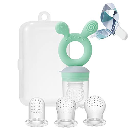 PandaEar Baby Fresh Fruit Food Nibbler Pacifier Set  Silicone Feeder (1 Pack) Replacement Pouches (3Pack) Pacifier Clip (1 Pack) Plastic Case (Green)