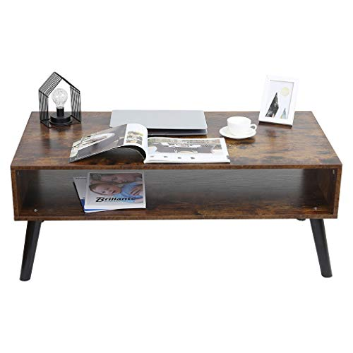 Yebobo Mid-Century Coffee Table TV Table with Storage Shelf Office Table for Living Room Cocktail Table Easy Assembly Rectangular Sofa Table Solid Elegant Functional Table