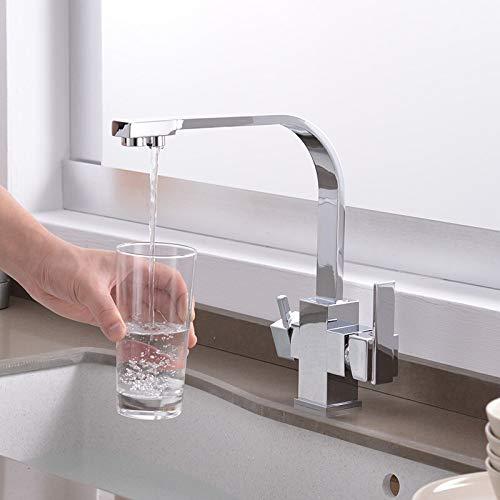 Grifo Grifo de cocina con filtro negro Grifo de filtro de agua de cocina para beber de 3 vías Grifo de fregadero frío y caliente