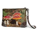 Ahdyr Bolso de mano de cuero suave impermeable Lady Clutch Bag Grupo de hongos en el bosque Bolso de mano de cuero para mujer con cremallera para mujeres niñas