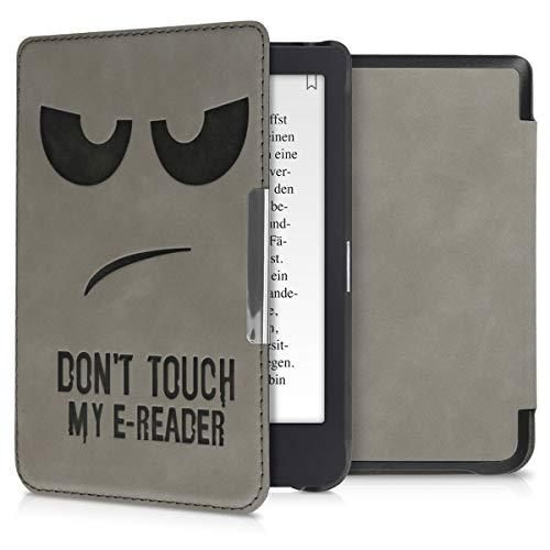 kwmobile Hülle kompatibel mit Tolino Shine 3 - Kunstleder eReader Schutzhülle Cover Case - Don't Touch My E-Reader Grau