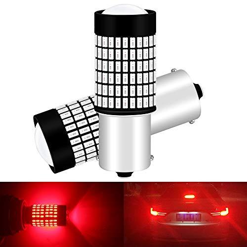 ALOPEE 2-Pack 1156 BA15S Ampoules de Frein de Voiture - 9V-30V Extrêmement Lumineux Rouge 600 Lumens 3014 144 SMD LED avec Projecteur - Remplacement 1141 1073 7506 1003 pour Feu de Recul Tail