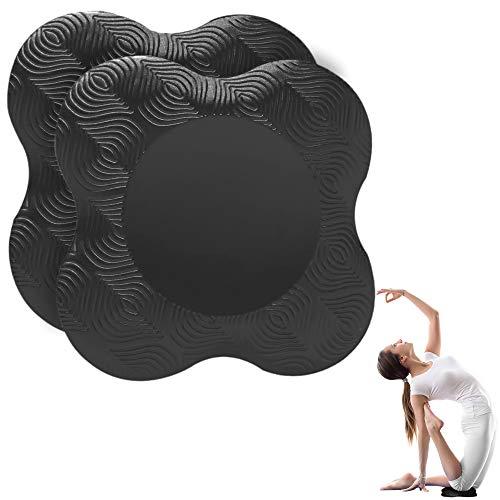 munloo 2 Piezas Rodillera Yoga, Colchonetas de Yoga Antideslizantes para Las Rodillas, Resistente al Desgaste, Protege Las Rodillas, Las Manos, Las Muñecas y los Codos (Negro)