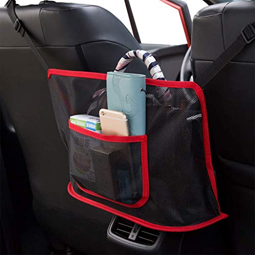 tunfo Car Net Pocket Handbag Holder, Driver Storage Netting Pouch, Car Hooks for Purses and Bags Front Seat, Handbag Holder for Car, Handbag Holder Attaches to Headrest (Upgrade Red)