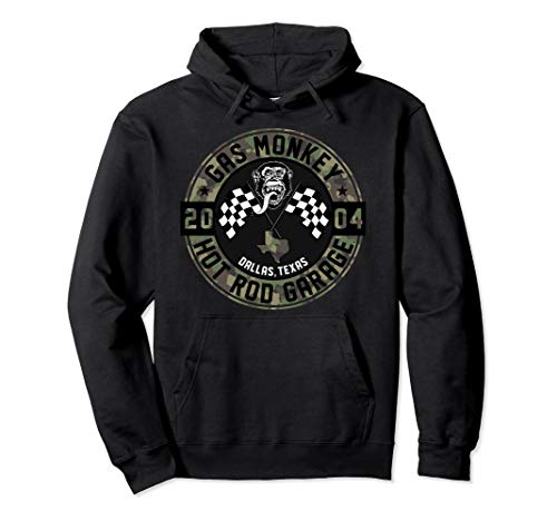 Gas Monkey Garage Hot Rods Camo Circle Text Logo Pullover Hoodie