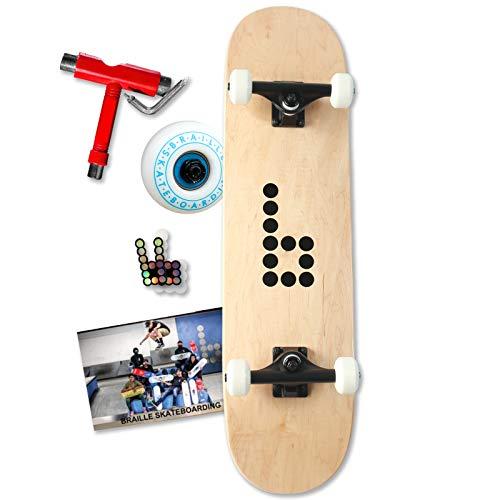 Best Beginner Complete Braille Skateboard Includes Skate Tool, Stickers & Poster (8.0)