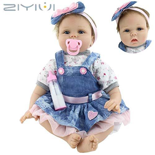 ZIY IUI Realistica 55 cm Bambola Reborn Bambina Bambole Reborn Femmina Bambolotti di Silicone Reborn Babys Dolls Ragazza Bambini Giocattoli 22 Pollice