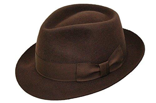 DH - Chapeau Trilby en feutre de Manhattan - Pour homme - 100 % laine - Fait main - Marron - Marron - XL