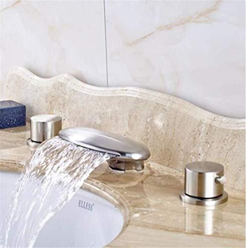 Armatuur chroom keramiek mengkraan moderne nikkel geborsteld waterval vijver mengkraan dubbele knop rond gemonteerd wastafel armatuur