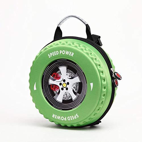 LIUHUIJUN Persönlichkeit 3D Reifen Rucksack Kinder Schultasche Autoreifen Reiserucksack Kreative Kindergarten Schultasche Baby Tasche Mode Muster Green-Medium