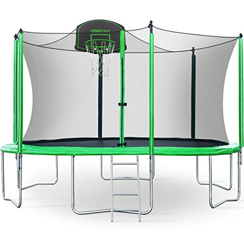 Merax 12FT Trampoline with Safety Enclosure Net, Basketball Hoop and Ladder, Trampoline for Kids (Green 12FT)