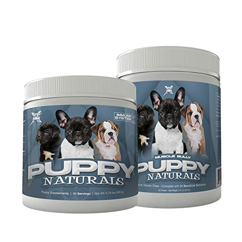 Muscle Bully Puppy Naturals Formula Stack (Immunity Supplement + Multivitamin Chew Stack 60 Servings) - A Healthy Nutritional Formula for Growing Puppies (for All Breeds)
