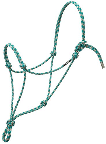 Weaver Leather Silvertip No. 95 Rope Halter, Small, Teal/Tan/Silver/White