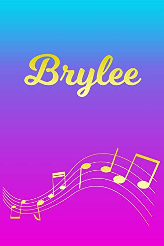 Brylee: Sheet Music Note Manuscript Notebook Paper – Pink Blue Gold Personalized Letter B Initial Custom First Name Cover – Musician Composer … Notepad Notation Guide – Compose Write Songs