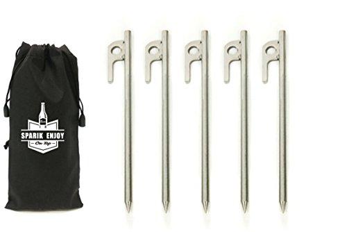 SPARIK ENJOY(TM geschmiedetes 304 Edelstahl Burly Zelt, solide Heringe Giede, Fußabdruck, 20 cm, 5 Packs