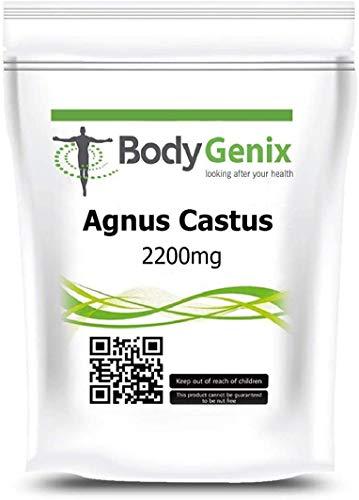 Bodygenix Vitex Agnus Castus Supplement   Reduces Menstrual Cramp, Mood Swings, Irritability   2200mg High Strength Veg 180 Capsules