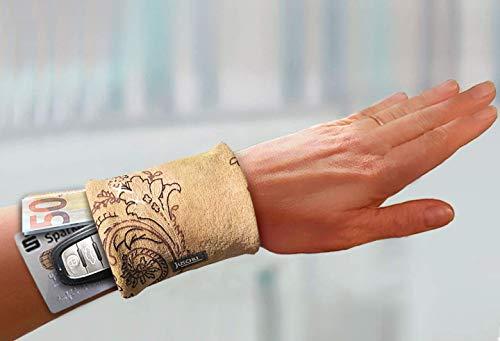 schicke Armbandtasche im hellbraunen Leder-Look – mini Tasche fürs Handgelenk – praktisches Geldversteck Geldbörse braun Ledergeldbörse Portemonnaie Lederbrieftasche Ledergeldbeutel Armtasche Damen
