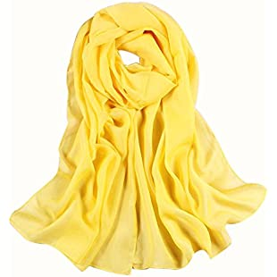 Xmiral Girls Women Scarf Long Soft Thin Wrap Outdoor Shawl Chiffon Pure Color Beach Scarves(Yellow):Carsblog