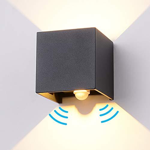 LED Wandleuchte mit Bewegungsmelder, 12W Wandlampe Innen/Außen LED Wandbeleuchte Einstellbar Abstrahlwinkel Wandbeleuchtung Wasserdichte IP65, Aussenlampe Sensor für Garten/Flur/Weg/Veranda usw