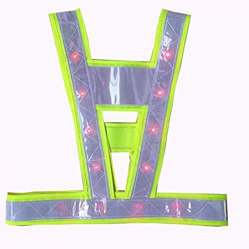 ytrew Sicherheitsweste mit LED-Licht, hohe Sichtbarkeit, Verkehrsweste, Outdoor, Nachtwarnung, Reflektorkleidung mit reflektierenden Streifen und 16 LED-Lichtern