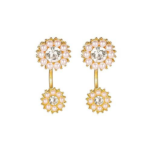 TYXL Pendientes de perlas de diamantes con incrustaciones simples y sencillos para mujer