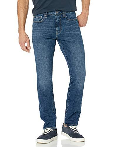 Amazon Essentials - Pantalones vaqueros elásticos de corte atlético para hombre, Azul (Medium Wash), 36W / 33L