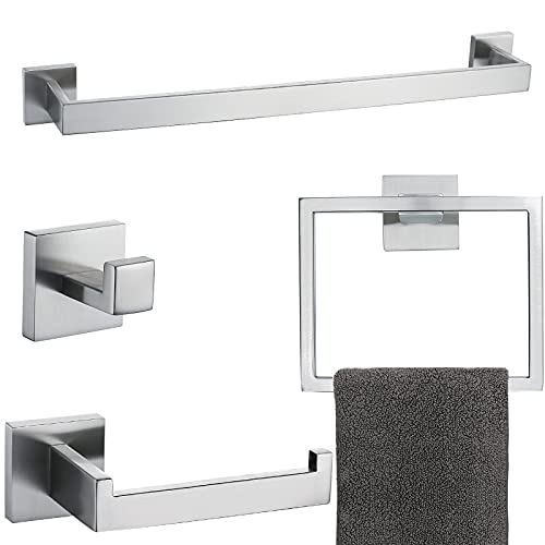 Brushed 4-Piece Bathroom Hardware Set Premium Stainless Steel Bath Towel Bar Sets Wall Mounted Square Bathroom Accessories Kit, 23.6 Inch Brushed Nickel