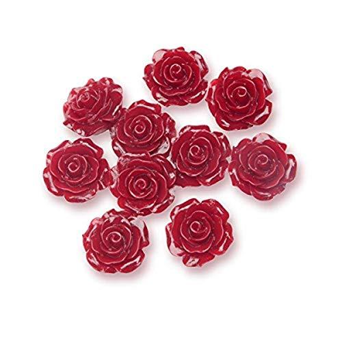 Club Vert Résine Rose Fleur, Bordeaux, 14 mm, Lot de 6