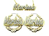 Name Necklace Plate Personalized Custom Nameplate and 2.5' XOXO Gold Earrings Made To Order Any Name Jewelry Set Laser Cut Diamond Look Glitter Script Cursive Letters, Quality Gold Chain, Stunning