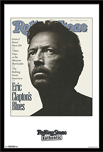 Trends International Rolling Stone Magazine - Eric Clapton 91 Wall Poster, 22.375' x 34', Black Framed Version