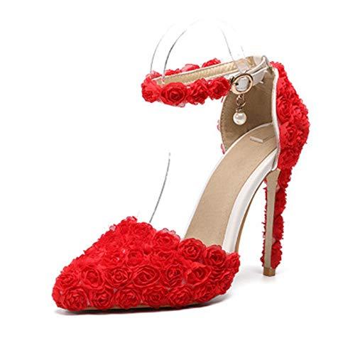 Hoge hakken Dames Schoenen Nieuw Woord met Punt Fijne Hoge Hakken Bruiloft Schoenen Kant Bruiloft Schoenen Ondiepe Mond Sandalen 40 Rood