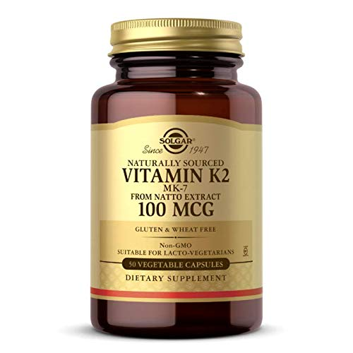 Solgar Vitamin K2 (MK-7) 100mcg, 50 Vegetable Capsules - Supports Bone Health - Natural Whole Food Source from Natto Extract - Non-GMO, Gluten Free - 50 Servings
