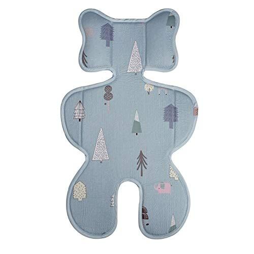 Bebamour Baby Seat Liner voor kinderwagen Katoen Baby Stoel Kussen voor Pushchair Zachte Baby Lichaam Ondersteuning voor hoofd en hals bescherming voor Reizen Blue Deer