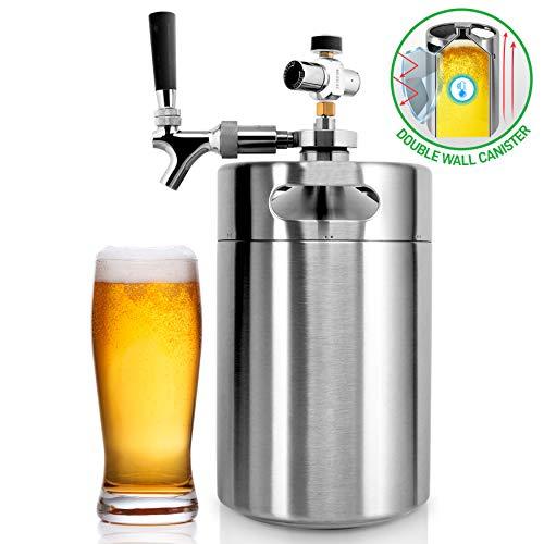 NutriChef PKBRTP299 Pressurized Mini Keg System, 128oz Double-Walled Stainless Steel Growler Tap Portable Dispenser Kegerator Kit, Co2 Regulator for Craft Beer Draft/Homebrew