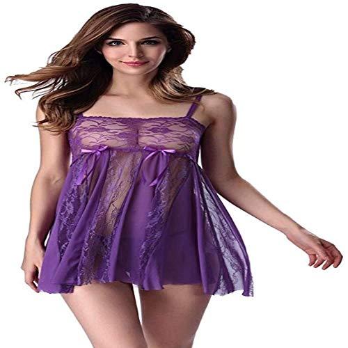 Shengluu Disfraz Colegiala Sexy Cosplay Muñeca Atractiva for el Mono Fino Floral de Las Mujeres Tela del cordón del camisón sin Respaldo Teddy púrpura (Color : Purple, Talla : Grande)